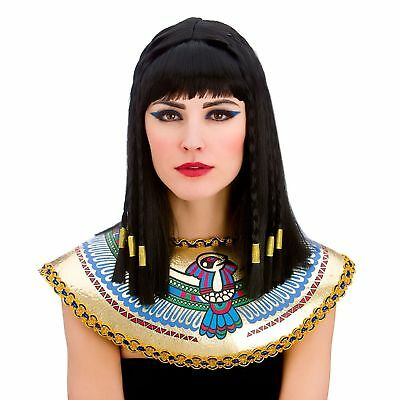 Black Cleopatra Egyptian Princess Wig Plaited Adults Womens Fancy Dress Costume - Cleopatra Costume Wig