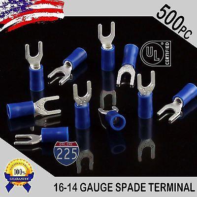 500 Pack 16-14 Gauge Vinyl Spade Fork Crimp Terminals 8 Stud Tin Copper Core Ul