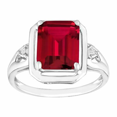 2 3/4 ct Emerald-Cut Created Ruby Ring with Diamonds in Sterling Silver, Size -
