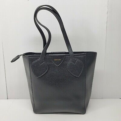 Anne Klein Black Pebbled Leather  Tote Bag Purse