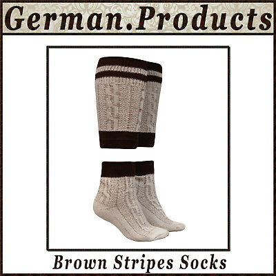 New German Bavarian Oktoberfest Trachten Men Lederhosen Brown Stripes Socks - Lederhosen Socks