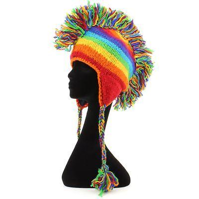 Mohawk Punk Hat Wool Festival Earflap Beanie Lined Fleece Knit Rainbow Stripe
