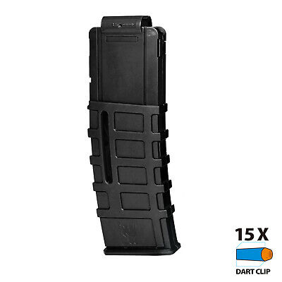 Worker MOD Magpul Style 15 Darts Magazine Clip Solid Black Gray for Nerf Toy