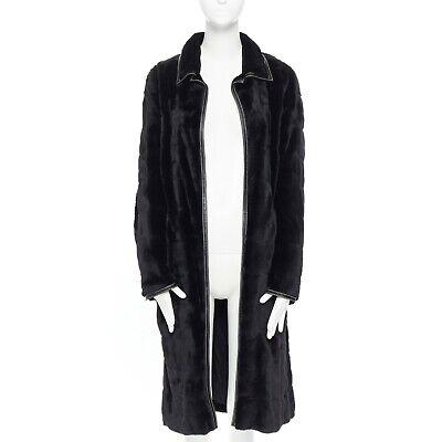 J MENDEL PARIS black horizontal leather piping long mink fur coat FR38 M