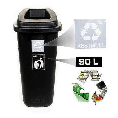 Mülleimer Abfalleimer Mülltonne Mülltrenner 90L H:85cm Sammler Restmüll schwarz