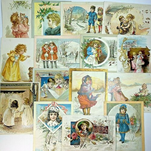 Lot of 15 Victorian Christmas Woolson Spice Co. Lion Coffee Trade Cards 1890s