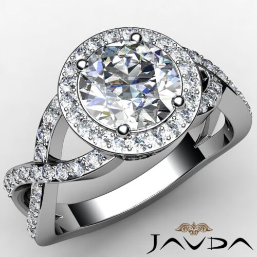 Halo Round Diamond Engagement Curve Shank Ring GIA F VS2 14k White Gold 2.2ct