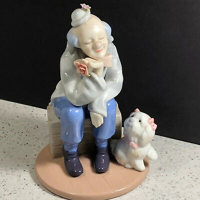 CLOWN FIGURINE DESIGN vintage porcelain statue sculpture sitting crate box dog