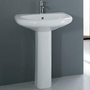 Lavabo con colonna 65 cm bianco in ceramica monoforo vasca for Arredo bagno lavabo