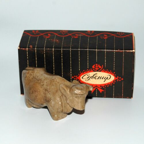 """Vintage Russian Stone Carving Cow Size 3 3/4"""""""