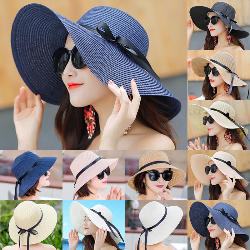 Damenhüte Sommerhut Strohhüte Sonnenhut Kofferhut Elegant Hut Breite Krempe DE