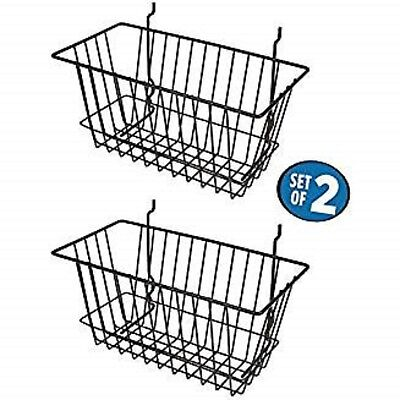 Black Wire Baskets For Slatwall Gridwall And Pegboard 12 X 6 X 6 Set Of 2