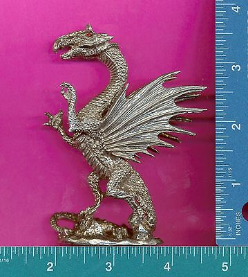 Lead free pewter dragon figurine with red crystal eyes R13501