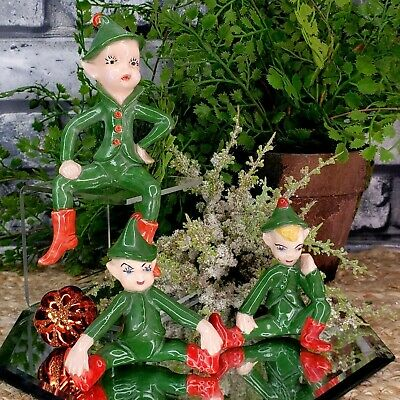 "Vintage 3 ""IMPISH"" Green Woodland Elves Imps Sprites Figures Red Fairies 40s 50s"