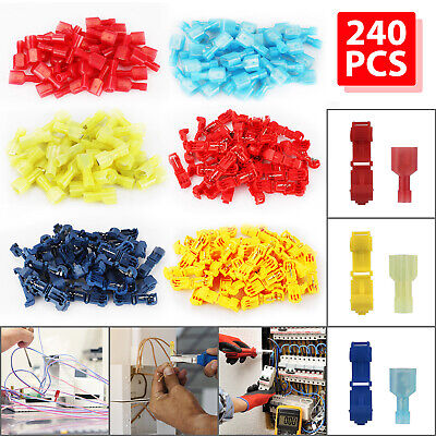 240pcs 22-10 Awg Insulated T-tap Quick Splice Combo Wire Terminal Connectors Kit