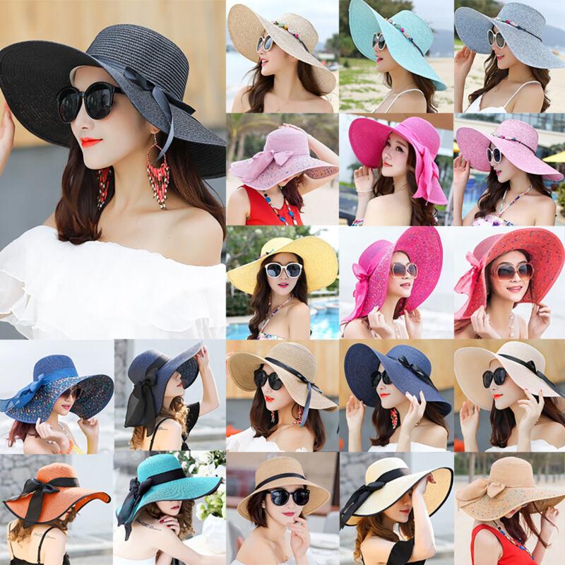 Women Wide Large Brim Straw Sun Hat Ladies Beach Summer Viso