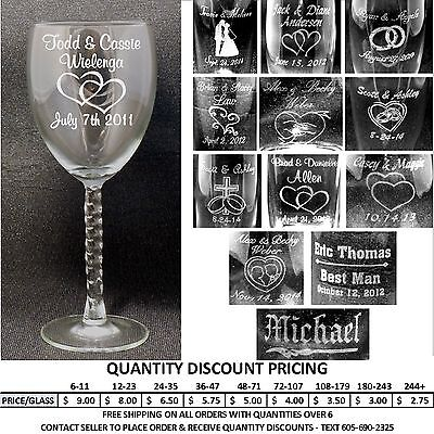 Personalized Wine Glasses Custom Laser Engraved Wedding Anniversary Party Gifts (Custom Party Glasses)