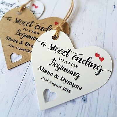Personalised Wedding Favour Heart Shaped Tags A Sweet Ending To A New Beginning (Sweet Ending)