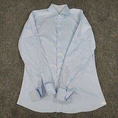 Finamore 1925 Napoli Men's Dress Shirt Solid Blue French Cuff Size L
