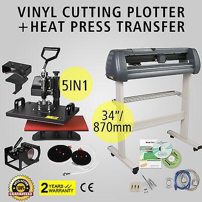 """5in1 Heat Press Transfer Kit 34"""" Vinyl Cutting Plotter Machine T-Shirt Digital"""