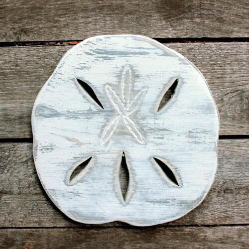 "Handemade DIstressed Wood Sand Dollar, 10"" Free Shipping, Beach Decor, Wall Art"