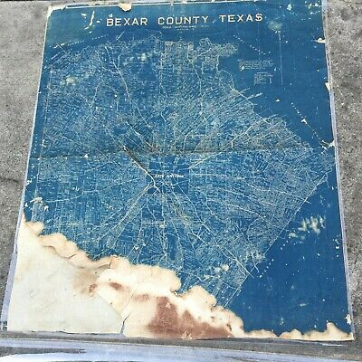 San Antonio Tx 1919 Survey Blue Line Map Antique Bexar County Oil Wells Gas Big