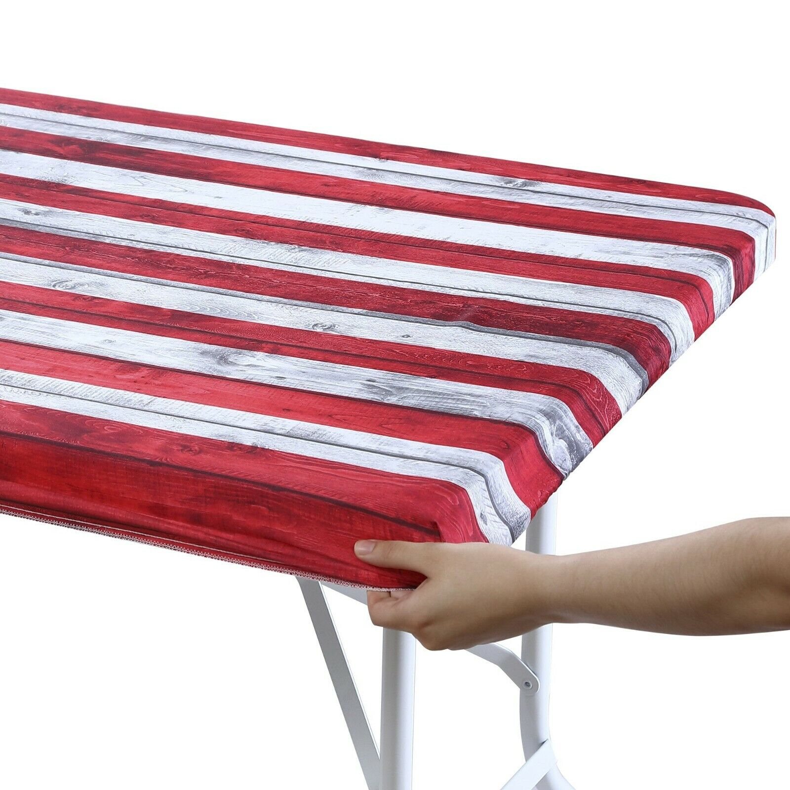 Brielle Home American Flag 100% Cotton Fabric Fitted Table Cover Accessories