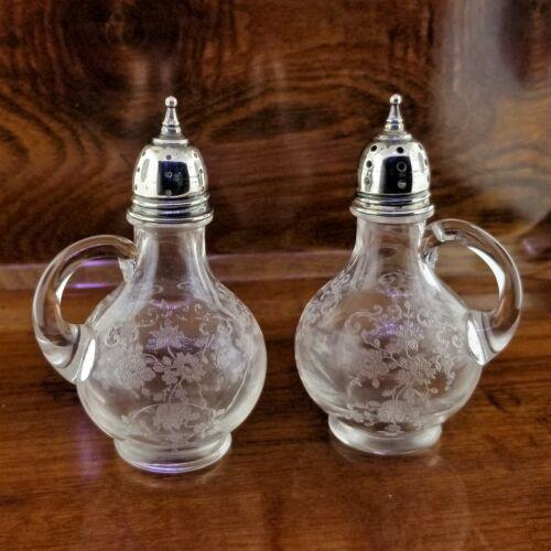 Vintage Etched Crystal & Sterling Silver Salt & Pepper Shaker Set