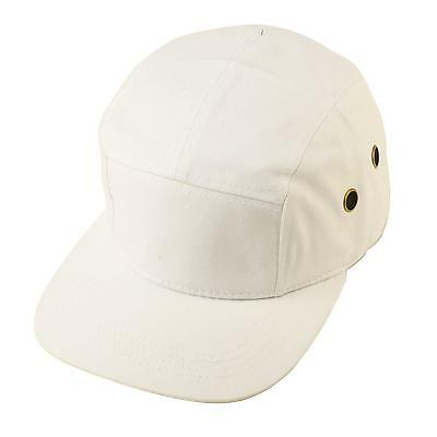 Cotton 5 Panel Solid Biker Snapback Adjustable Leather Cadet Cap Hat White