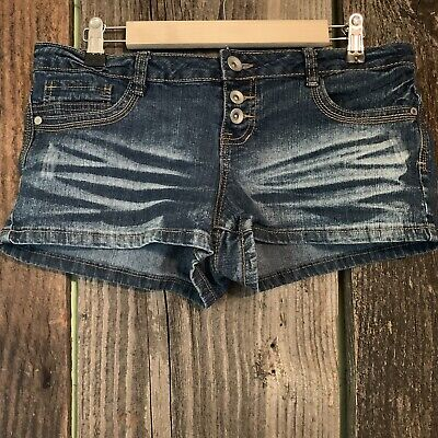 Blue Spice Booty Shorts Womens Juniors Size 7 Blue Cutoff Jean Button Pockets - Blue Booty Shorts
