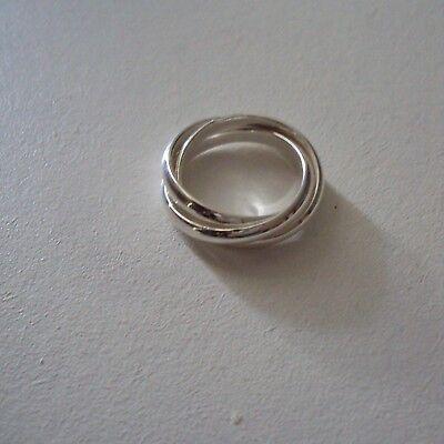 Bague plaqué argent sterling 925 rhodié, 3 anneaux, diam. : 1,8 cm, neuve