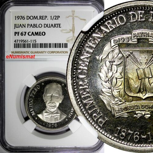 DOMINICAN REPUBLIC PROOF 1976 1/2 Peso NGC PF67 CAMEO TOP GRADED BY NGC KM# 44