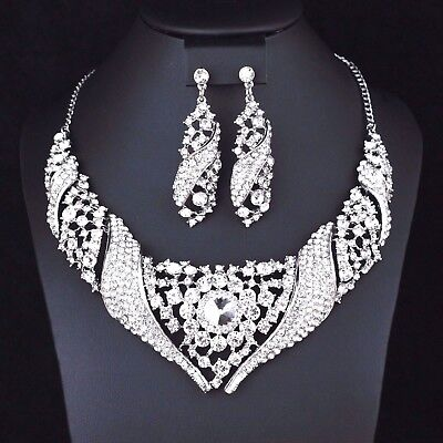 (Heart Floral Clear Crystal Rhinestone Bib Necklace Earrings Set Bridal Prom N37)