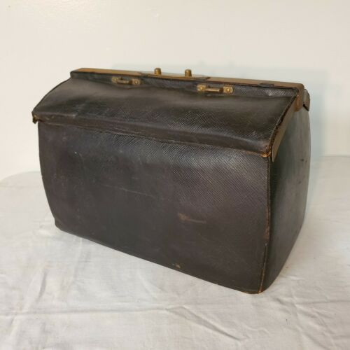 RARE Antique Louis Vuitton Black Leather Sac Cabine Doctors Travel Bag Luggage