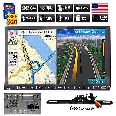 """HD 7"""" In Dash Double 2 Din Car Stereo DVD Player GPS Navigation Bluetooth+CAMERA"""