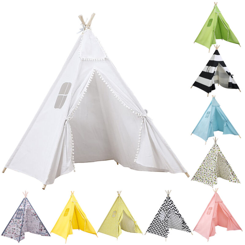 Kids Indian Teepee Play Tent Indoor Toddlers Boys Girls Cotton Canvas Playhouse