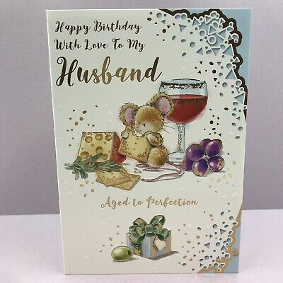 HUSBAND BIRTHDAY CARD. FULL COLOUR WITH INSERT, WINE, CHEESE, AGED TO PERFECTION