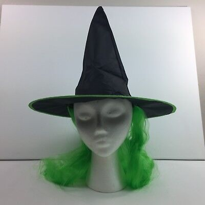 Halloween Adult Black Witch Hat with Neon Green Hair Witches Costume ](Witch Hat With Hair)
