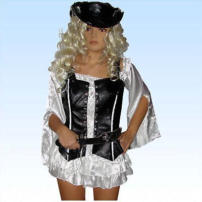 Sexy Piratenkostüm Gr. M elegant schwarz/weiß Faschingskostüm Piratin - Sexy Elegante Kostüm