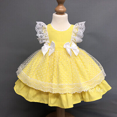 Beautiful Wee Me Baby Girl Lemon Spanish Puff Ball Lace Dress with Bows Romany (Beautiful Girl With Dress)