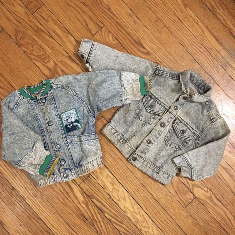 Vintage Lot Of 2 Levis Denim Jackets Size 4t Toddler Sample Levis Strauss Boys