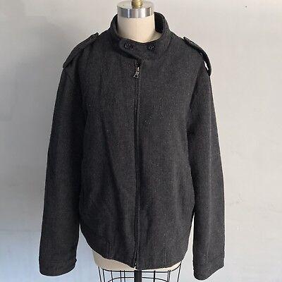 Banana Republic Gray Herringbone Bomber Jacket Mens Size XL