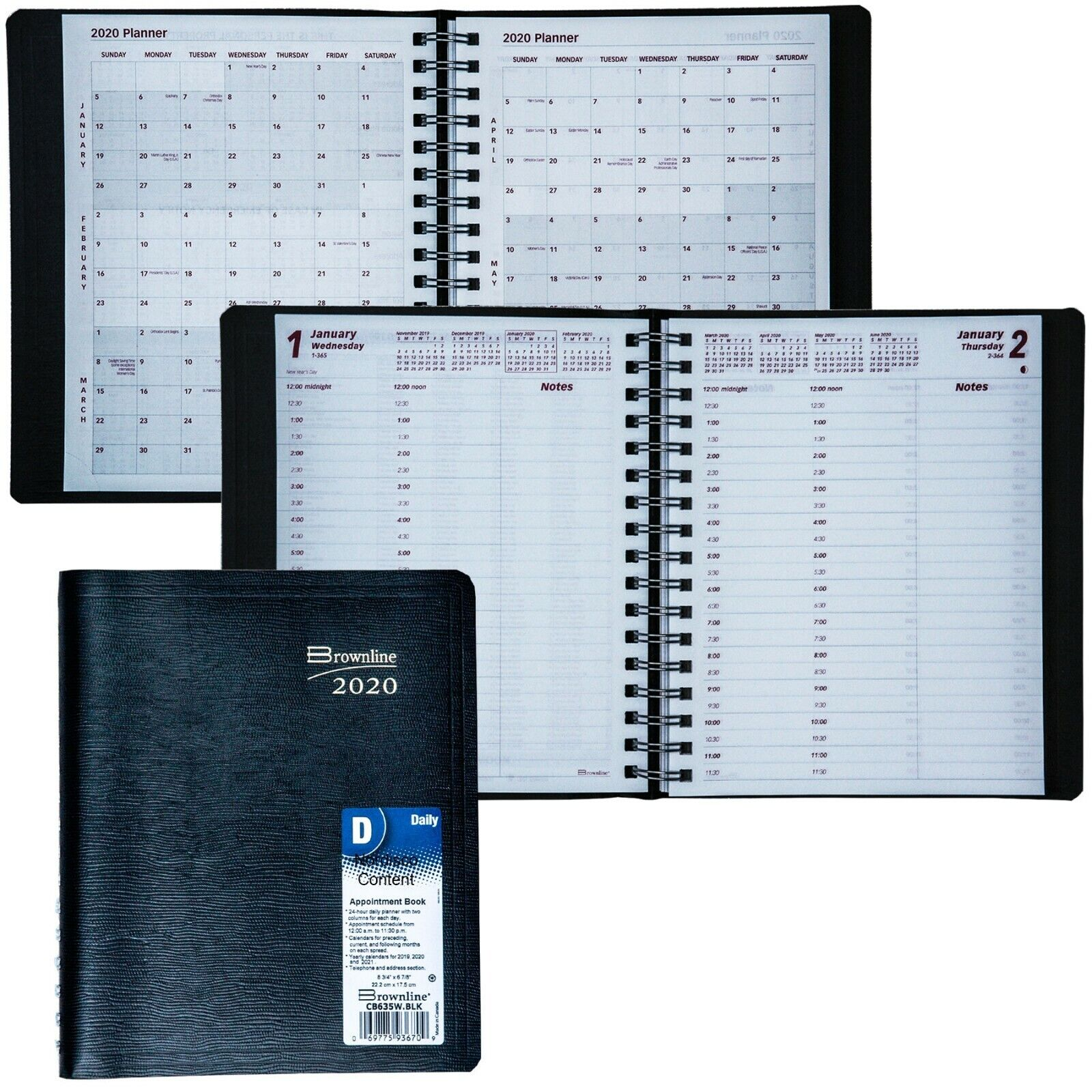 2020 Brownline CB635W.BLK 24-Hour Daily Appointment Book, 8-