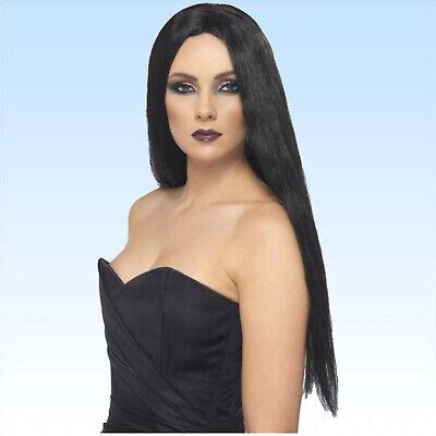 Schwarze lange Perücke lange glatte Haare f. Kostüm Hexe Hexenperücke - Lange Schwarze Perücke Kostüm