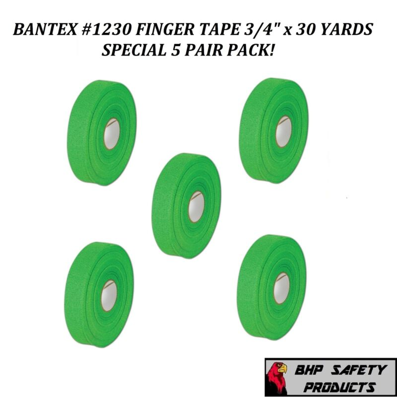 "BANTEX COHESIVE GAUZE SAFETY FINGER TAPE GREEN 3/4"" X 30 Yd. #1230 (5 ROLL PACK)"