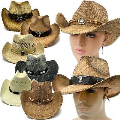 Western Cowboy Cowgirl Hat Men Women Beach Wide Brim Straw Cap Sunsreen One Size Brim Straw Cowboy Hat