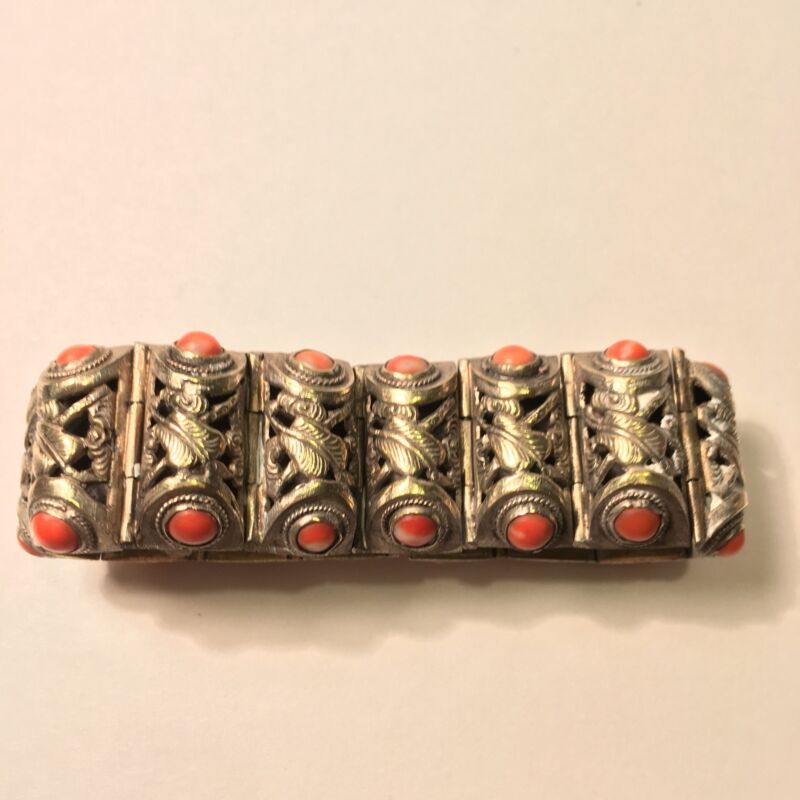 Antique Chinese Silver Tone Filigree Coral Bracelet