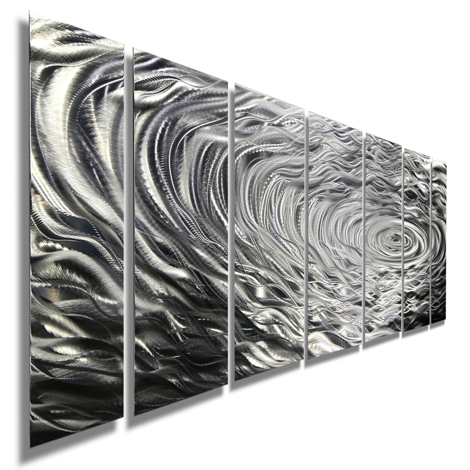 Statement2000 3D Metal Wall Art Abstract Silver Decor Jon Allen Ripple Effect