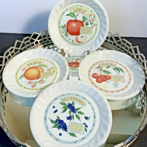 Vintage Pie Plates Himark Cherry Peach Apple Blueberry 8 inch Lot  4 Fruits #DX