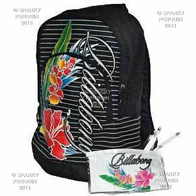Billabong Girls Handbag (Billabong Black Womens Girls Backpack Rucksack School Bag + FREE Stationary)